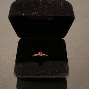Red-Jewel Brushed Gold Ring